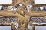 cross, The Crucifixion of Christ, copper alloy, 2-color enamel, Russia, the border of the 19th and t...