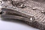 театральная сумочка, серебро, с двумя отделениями, модерн, кольчужное плетение, 380.60 г, 17.5 x 20...